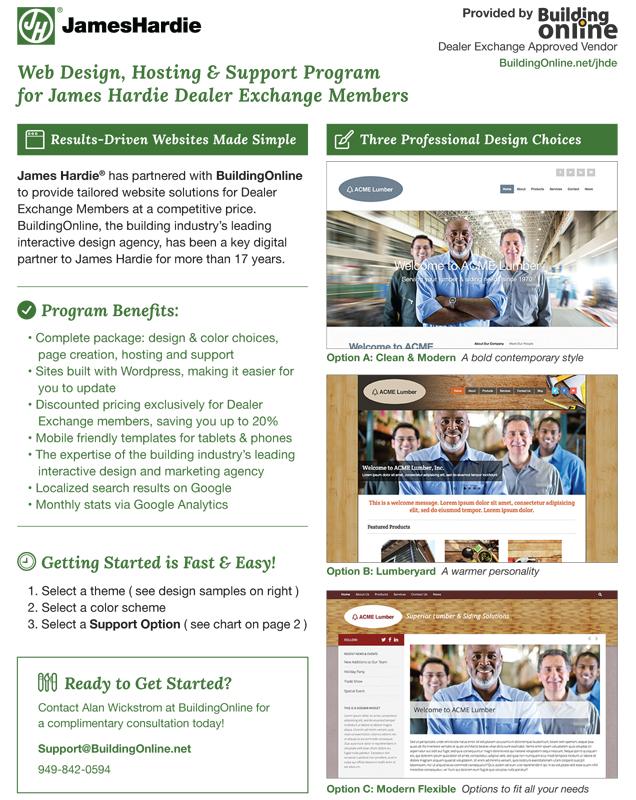 Website Support For James Hardie Dealer Exchange Members